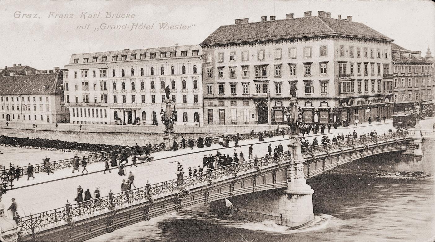 Franz-Karl-Brücke mit Grand-Hotel Wiesler, 1911 © GrazMuseum