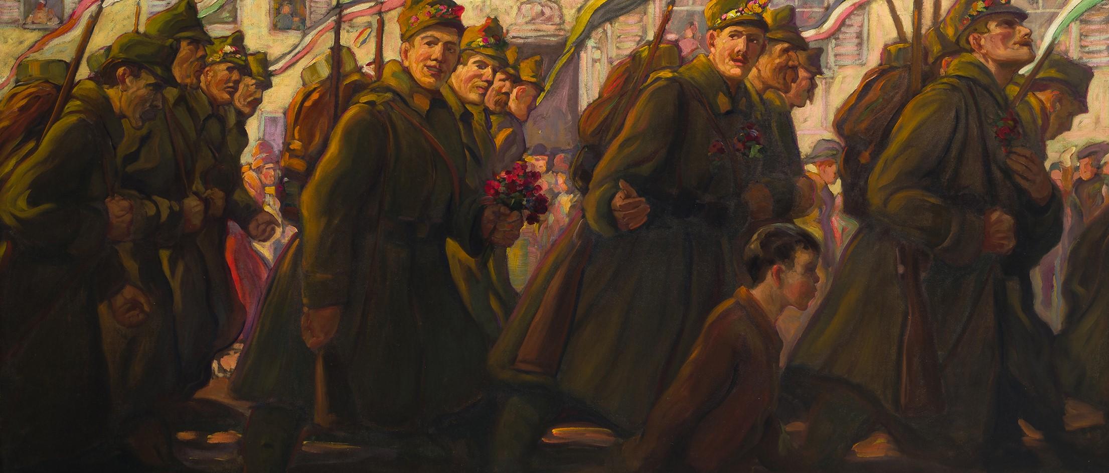 Franz Köck: Auszug von Soldaten des Grazer Hausregiments (Nr. 27), um 1914
